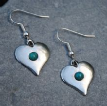 Gemstone heart earrings E56